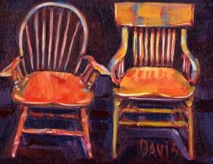 Two chairs - oil Sandra Davis