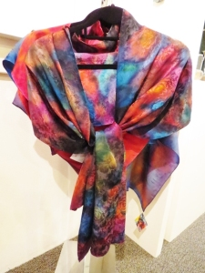 Hand-dyed silk shawl by Connie Simonsen