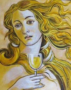 "Michael Gibson -""Venus and Chardonnay After Botticelli,"" oil"