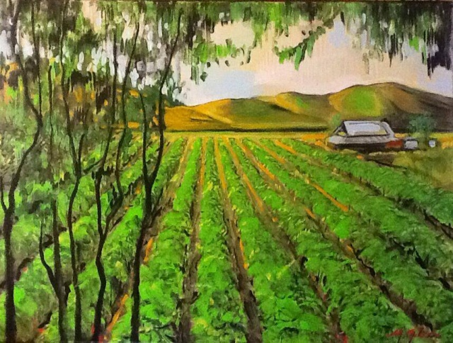 "Michael Gibson - ""Vineyard,"" oil"